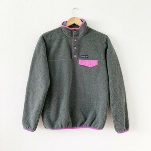 PATAGONIA Gray Trim Fleece Snap Buttons Pullover S